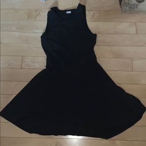 Black dress with lace detailing and a back cutout